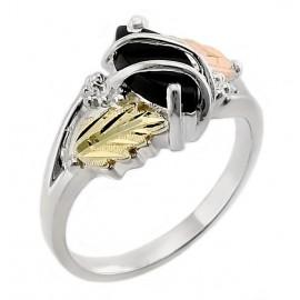 925 Ezüst Gyűrű Arannyal és Ónixal