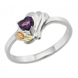 Black Hills Sterling Ezüst & 12K Arany Gyűrű Ametiszttel