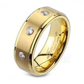 Aranyozott Tungsten/Volfrám Gyűrű Cirkóniával