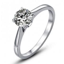 Fehéraranyazott Eljegyzési Gyűrű 0.75 Karát Gyémántutánzattal