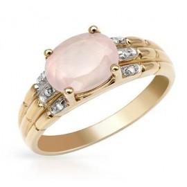 10K Arany Gyűrű Gyémánt és Kvarc Drágakővel