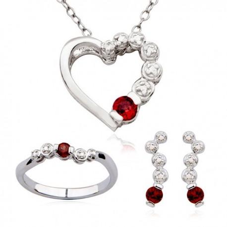 Ezüst Gyűrű, Fülbevaló és Szívmedál Szett Gránát Drágakővel