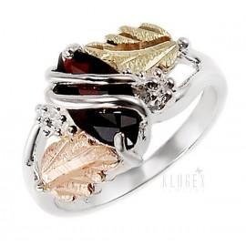 Ezüst és 12K Arany Gyűrű Gránát Drágakővel