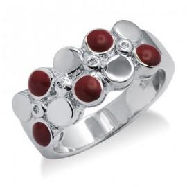 Sterling Ezüst Gyűrű Tűzzománc és Gyémánt Drágakövekkel