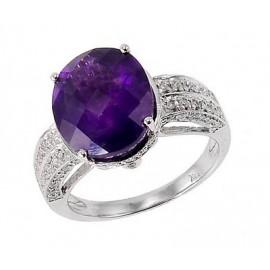 14K Fehér Arany Gyűrű Ametiszttel és Gyémánttal