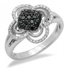14K Fehér Arany Gyűrű Gyémánttal