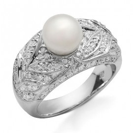 14K Fehér Arany Gyűrű Igazgyöngyel és Gyémánttal