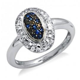 Sterling Ezüst Gyűrű Zafírral és Gyémánttal