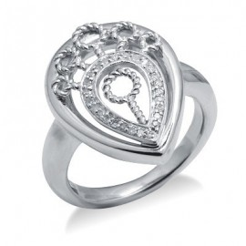 Sterling Ezüst Gyűrű Gyémánt Drágakővel