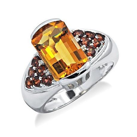 Sterling Ezüst Gyűrű Citrinnel és Gránát Drágakővel