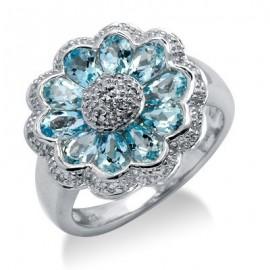 Sterling ezüst gyűrű gyémánttal és topázzal