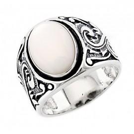 Délnyugati Stílusú Ezüst Gyűrű Gyöngyházzal