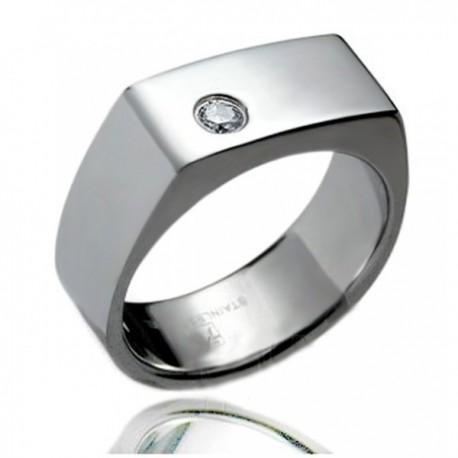 Nemesacél Gyűrű Cirkóniával