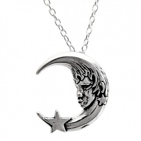 Sterling Ezüst Hold Medál Lánccal