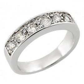Sterling Ezüst Karika Gyűrű Cirkóniával