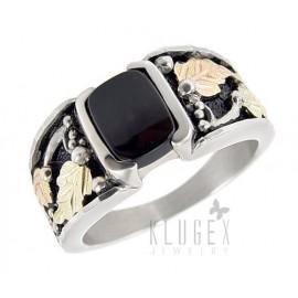 Black Hills Sterling Ezüst & 12K Arany Férfi Pecsét Gyűrű