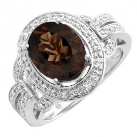 14K Fehér Arany Gyűrű Barna Topáz és Gyémánt Drágakövekkel