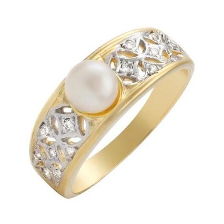 18K Sárga Arany Gyűrű Igazgyöngy és Gyémánt Drágakövekkel
