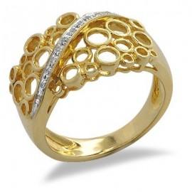 18K Sárga Arany Gyűrű Gyémánt Drágakövekkel