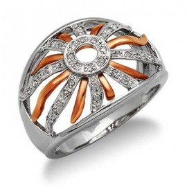 14K Fehér és Vörös Arany Gyűrű Gyémánt Drágakövekkel