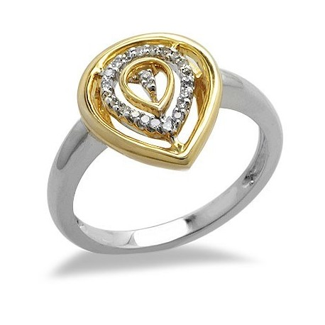 14K Fehér és Sárga Arany Gyűrű Gyémánt Drágakövekkel