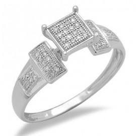 14K Fehér Arany Gyűrű Gyémánt Drágakövekkel