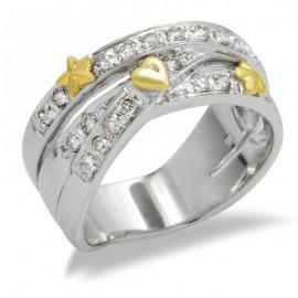 14K Arany Gyűrű Gyémánt Drágakövekkel