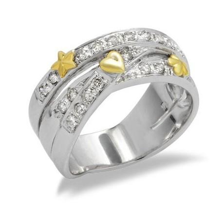 14K Kétárnyalatú Arany Gyűrű Gyémánt Drágakövekkel