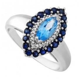 14 Karátos Női Fehér Arany Gyűrű Zafir és Topáz Drágakövekkel