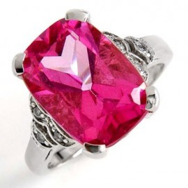 14 K Fehér Arany Gyűrű Gyémánttal és Rózsaszín Topázzal