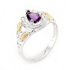 Black Hills Ezüst és 12K Arany Gyűrű Ametiszt Drágakővel