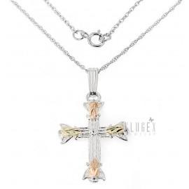 Ezüst és 10K Arany Kereszt Medál Lánccal