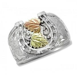 Black Hills Ezüst & 12K Arany Gyűrű Patkó Mintával