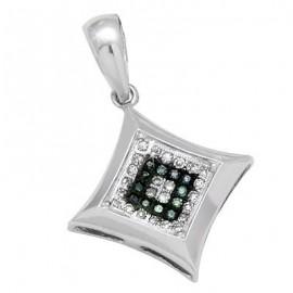 14K Fehérarany Medál Gyémánt Drágakövekkel
