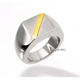 Nemesacél és 14K Arany Férfi Gyűrű