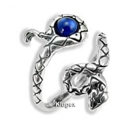 Állítható Ezüst Kígyó Gyűrű Kék Kristállyal