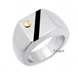 Nemesacél és 14K Arany Férfi Gyűrű Ónixszal