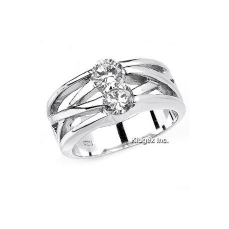 Sterling Ezüst Gyűrű Cirkónia Kövekkel
