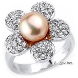 Sterling Ezüst Virág Gyűrű Igazgyönggyel