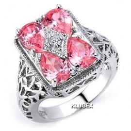 Sterling Ezüst Gyűrű Rózsaszín Cirkónia Kövekkel