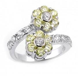.925 Sterling Ezüst Gyűrű Cirkónia Kővekkel