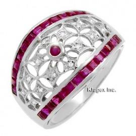 18K Arany Gyűrű Eredeti Gyémánt és Rubin Drágakővel