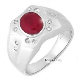 14K Arany Gyűrű Eredeti Gyémánt és Rubin Drágakővel