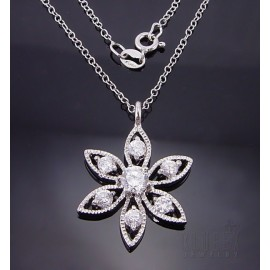 Sterling Ezüst Virág Medál Cirkónia Drágakövekkel