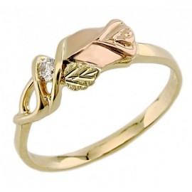 Black Hills 10k Arany Gyűrű Rózsával és Gyémánt Drágakővel