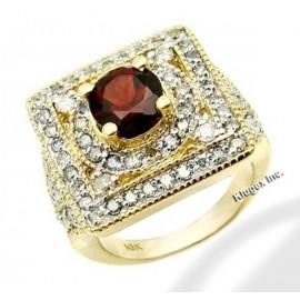 Arany Gyűrű 3ct Gránát és Gyémánt Drágakővel
