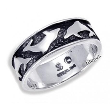 Ezüst Karika Gyűrű Delfinekkel