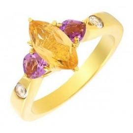 Sterling Ezüst Gyűrű Ametiszt és Citrin Drágakővel
