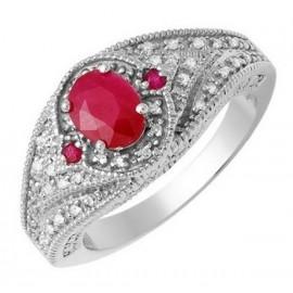 14 Karátos Női Fehér Arany Gyűrű Rubinnal és Gyémántokkal