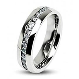 Nemesacél Karikagyűrű Gyémánt Utánzat Kiemeléssel